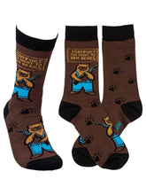 Load image into Gallery viewer, Brown funny socks with armed bears