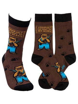 Brown funny socks with armed bears