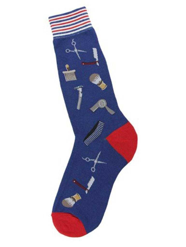 Blue men's socks with barber pictures