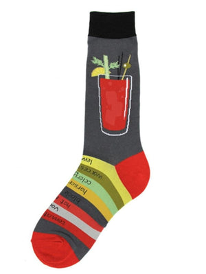 Funny socks with Bloody Mary cocktail