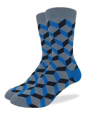 Blue geometric socks from Good Luck Socks