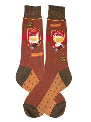 Cute socks with bourbon and cigars on them