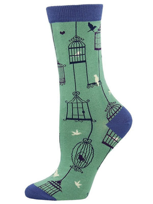 Blue women's socks with funny birds cages