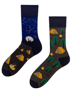 Camping mismatched socks