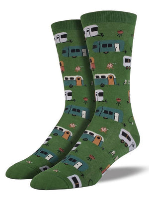 Green socks with pictures of camptown