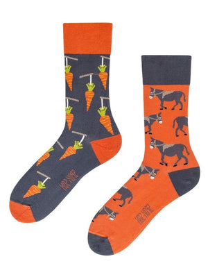 Mismatched socks with carrots and donkeys