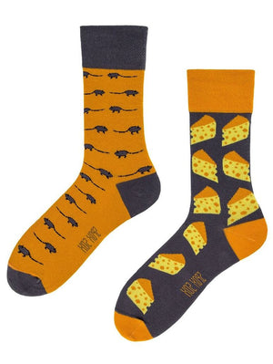 Mismatched cheese and mice socks for men