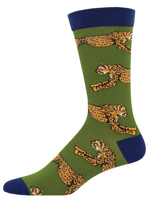 Cheetah green socks from SockSmith