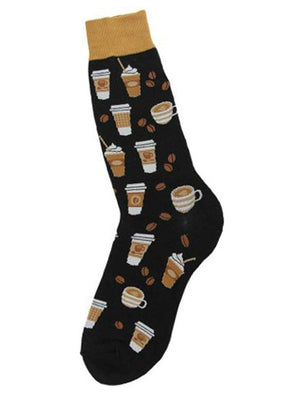 Black funny men's socks with coffee