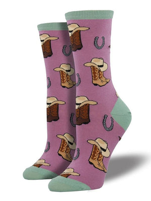 Pink funny socks with cowboys