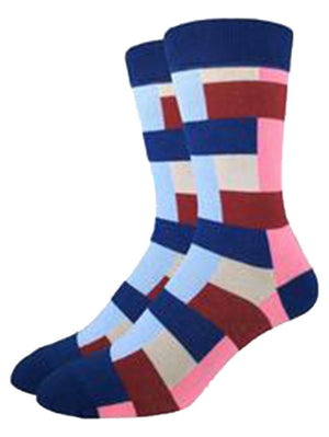 Geometric criss and cross socks for men