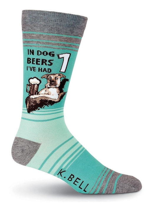 Blue funny socks with dog drinking beer