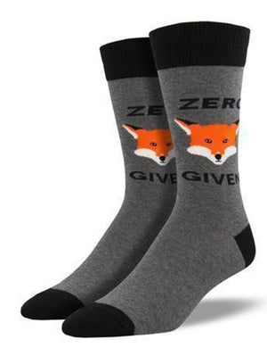 Gray socks with funny fox