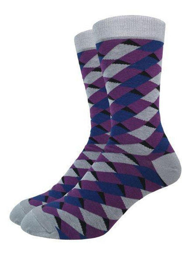 Purple geo square crew socks.