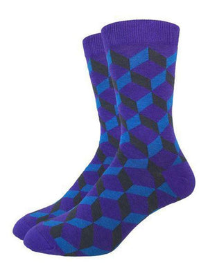 Geometric purple and blue socks