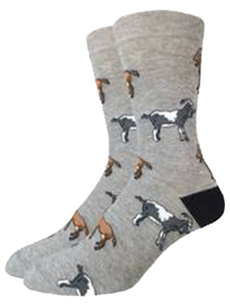 Funny gray socks with goats