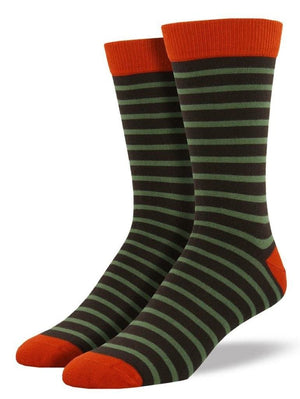 Green striped bamboo socks from SockSmith