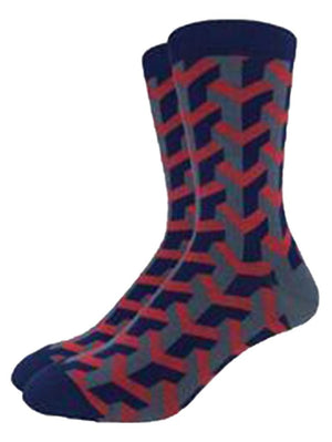 Geometric gray and red socks for men