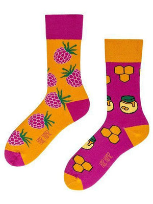 Mismatched socks with honey and raspberry for women