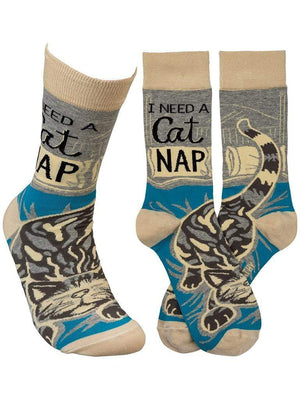 Funny gray and blue socks with cute cats and quote