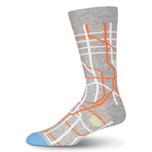 Cool gray socks with a map