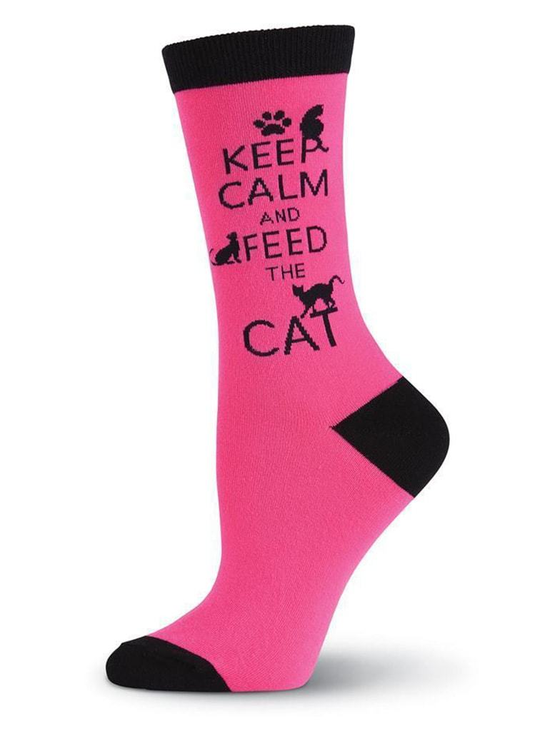 Pink women's socks called Keep calm and feed the cat