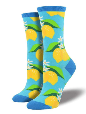 Blue women's socks with lemons