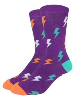 Purple socks with funny lightning bolts