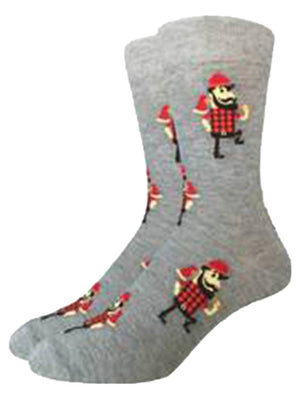Gray socks with lumberjack pictures
