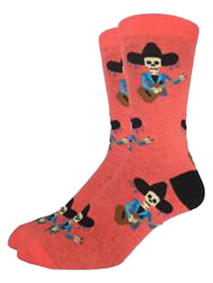 Funny pink socks with skeletons