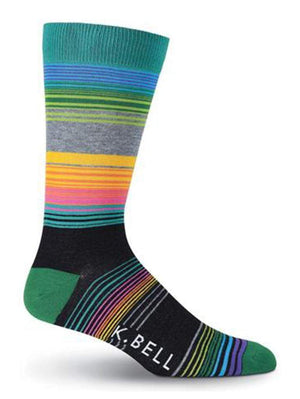 Colorful striped mens crew sock