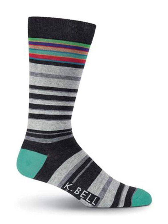 Men's Stripes Gray Crew Socks - Sockscene.com