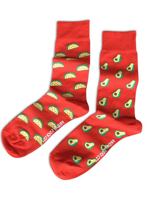 Red mismatched socks with avocado
