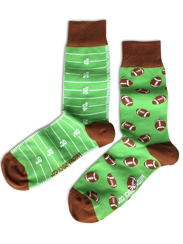 Touchdown...Mismatched Football Socks.