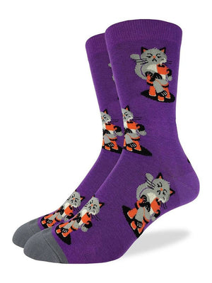 Purple socks with cute cats and coffee