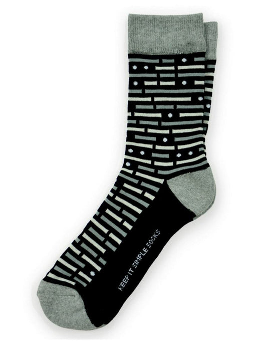 Black stripes and dots on the morse socks