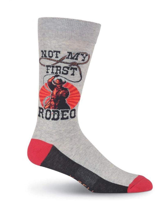 Gray trendy men sock with funny quote Not My First Rodeo