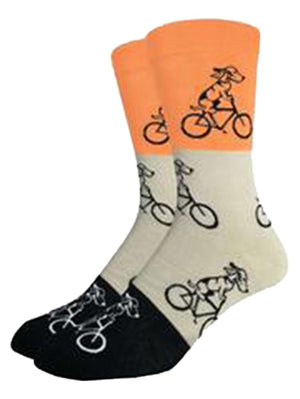Funny socks with orange dogs, riding bikes