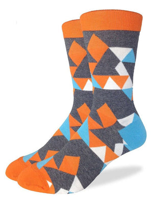 Geometric orange socks with kaleidoscope pictures