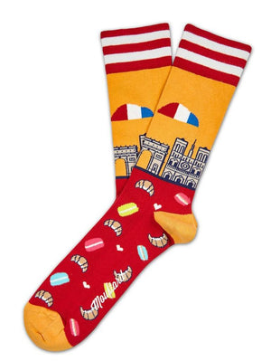 Paris red and yellow socks