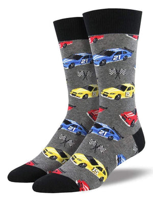 Gray socks with cars