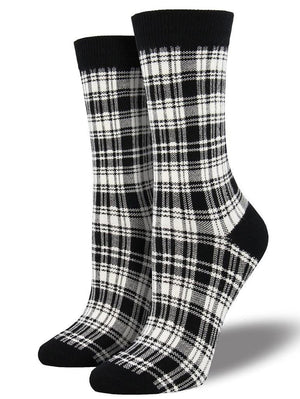 Black and whire plaid socks