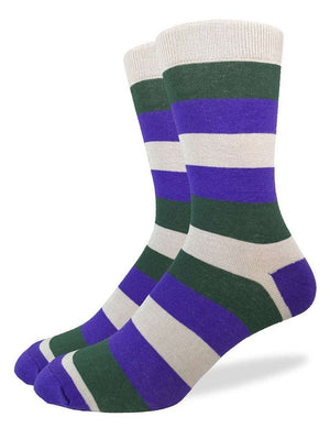 Green and purple stripes on the geometric socks