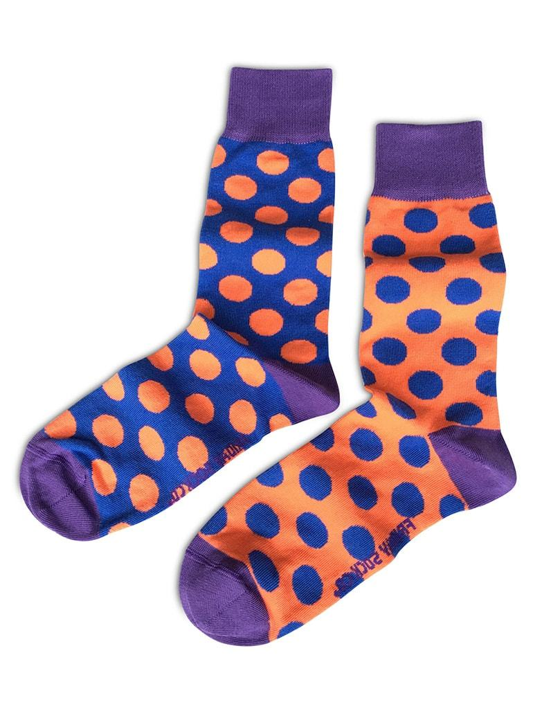 Mismatched with purple and orange dots socks