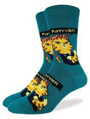 Blue funny socks with cats