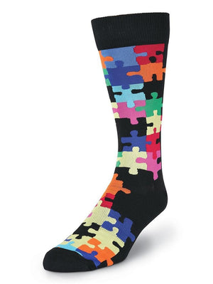 Black crew socks with colorful puzzles