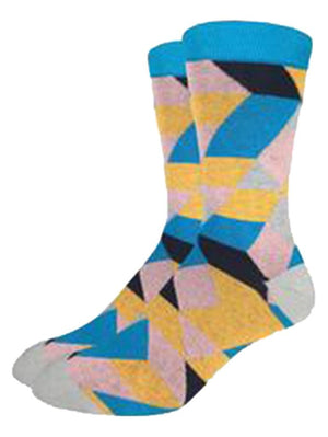 Geometric socks for men blue and yellow relativity