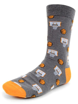 Gray basketball socks for men with basketball pictures