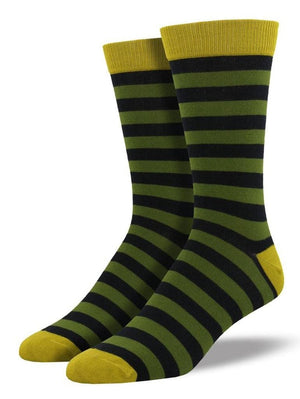 Striped olive socks from SockSmith