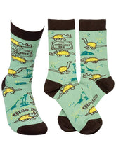 Load image into Gallery viewer, Funny blue socks with dinosaurs for men and women